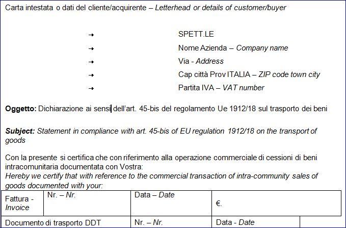 PROVA DELLA CESSIONE INTRA FAC SIMILE DICHIARAZIONE CLIENTE ITALIANO INGLESE